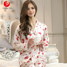 LIN YUN Real Silk Pajamas Sets for Women Full Top & Bottom Flower Print Sleepwear Female Silk Pajama Lady Button Homewear