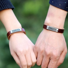 New Style Simple Fashion Best Friend Alloy Leather Bracelets  For Women Men Couples Lover Valentine's Day Gift Lovers' Jewelry
