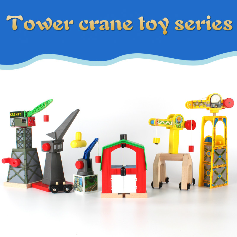 Wooden Cranes Toy Wooden Train Track Railway Accessories Cranky Move House Educational Slot Compatible Wood Track Road Kids Gift