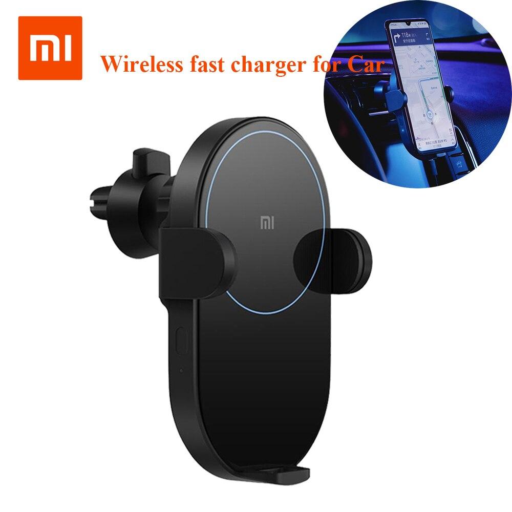 Chargeur de voiture sans fil d'origine Xiao mi mi jia 20 W Max électrique pince automatique 2.5D anneau de verre allumé pour mi 9 (20 W) mi X 2 S/3 (10 W) Qi 33