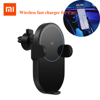 Original Xiaomi Mijia Wireless Car Charger 20W Max Electric Auto Pinch 2.5D Glass Ring Lit For Mi 9 (20W) MIX 2S / 3 (10W) Qi 3