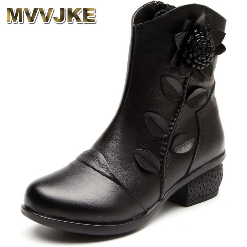 MVVJKE Vintage Style Women Boots Winter Shoes Handmade Genuine leather Shoes Woman Martin Ankle Boots fashion genuine leather female ankle boots women autumn winter martin solid handmade full grain leather boots shoes woman fy359n