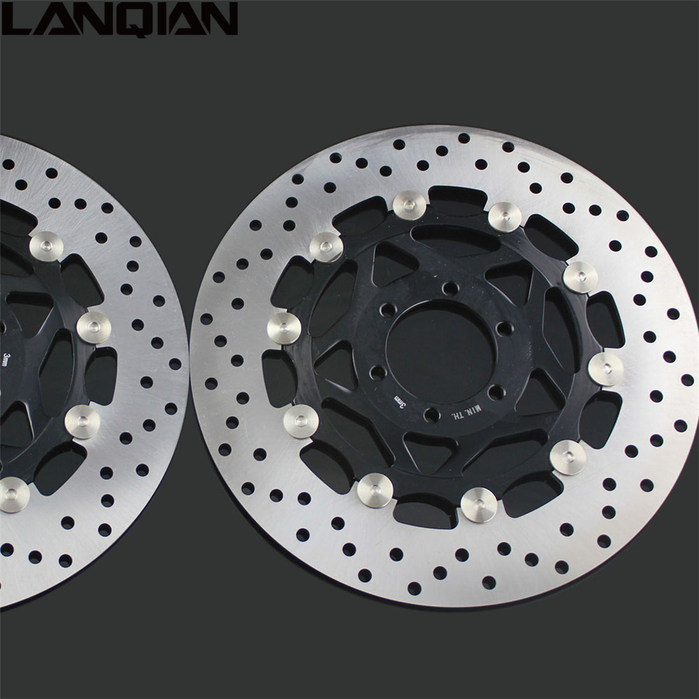 2PCS Motorcycle Front Floating Brake Disc Rotor For YAMAHA XJR400 1993-2005 YZF600R 1994-2005 FZR400 1988-1995 XJR 400 YZF 600R keoghs mosda motorcycle brake disc brake rotor floating 260mmdiameter for yamaha scooter bws cygnus front disc replace modify
