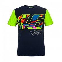 2017 Valentino Rossi VR46 Moto GP Large 46 Signature Blue T-shirt