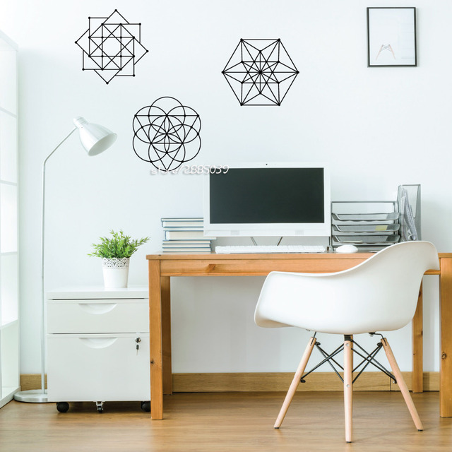3pcsset sacred geometry wall stickers metallic customized colors wall decal removable home design wallpaper
