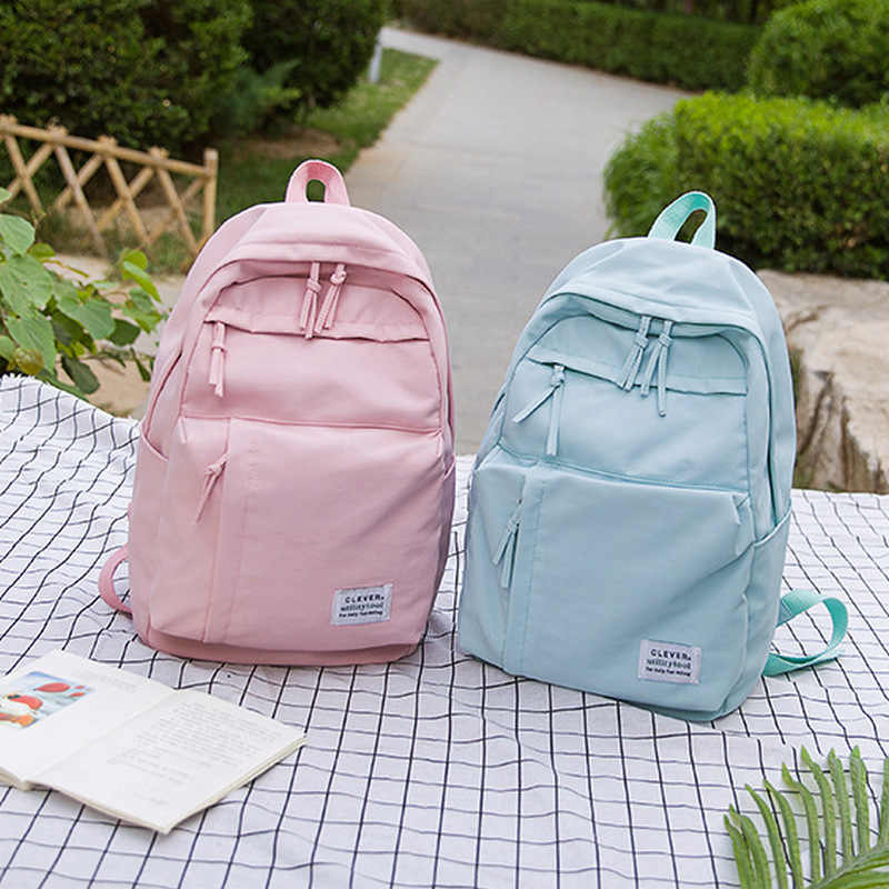 Large Leisure Backpack for Girls Teenage Pink Bag Pack Women College Student Nylon Waterproof Backpack School Bags Teen Big 2019