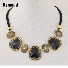 hot deal buy kymyad collier femme retro jewelry black rope chain choker necklaces women resin stone necklaces & pendants maxi colar necklace