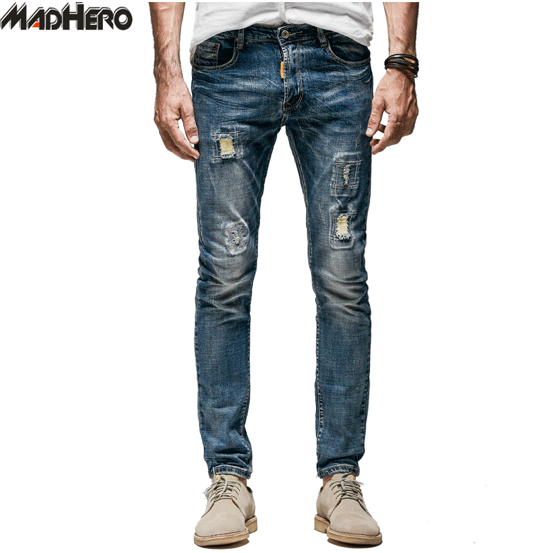 MADHERO Blue Cotton Hole Men's Denim Jeans High Quality Slim Casual Pants Spandex Trousers Men Torn Ripped Biker Jeans Skinny 2017 new hiphop men hole jogger pants high quality casual destroyed skinny ruched jeans hole casual pants jogger rock jeans
