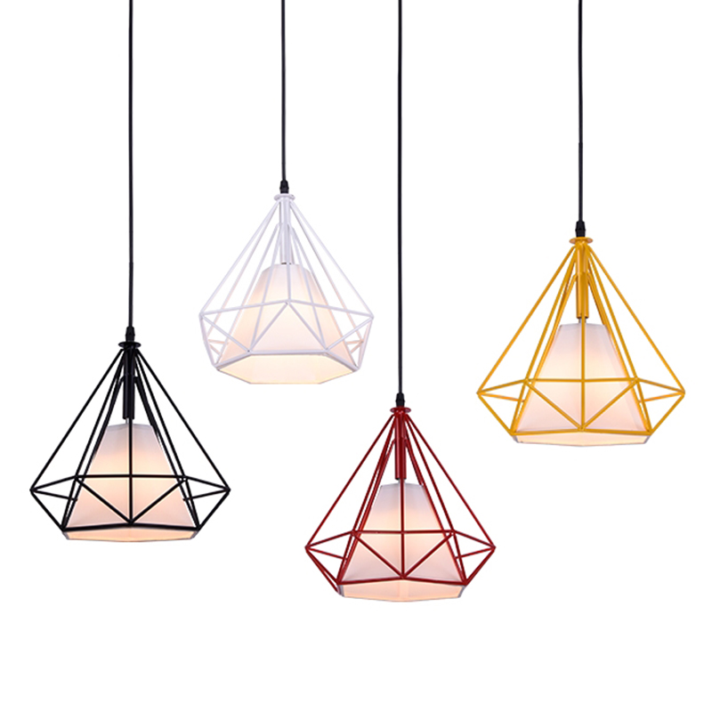 GZMJ Modern Metal LED Pendant Lights Loft Decor E27 Iron Wire Cage Hanging Lamp Black/White/Yellow/Green/Red Pyramid Hanglamps