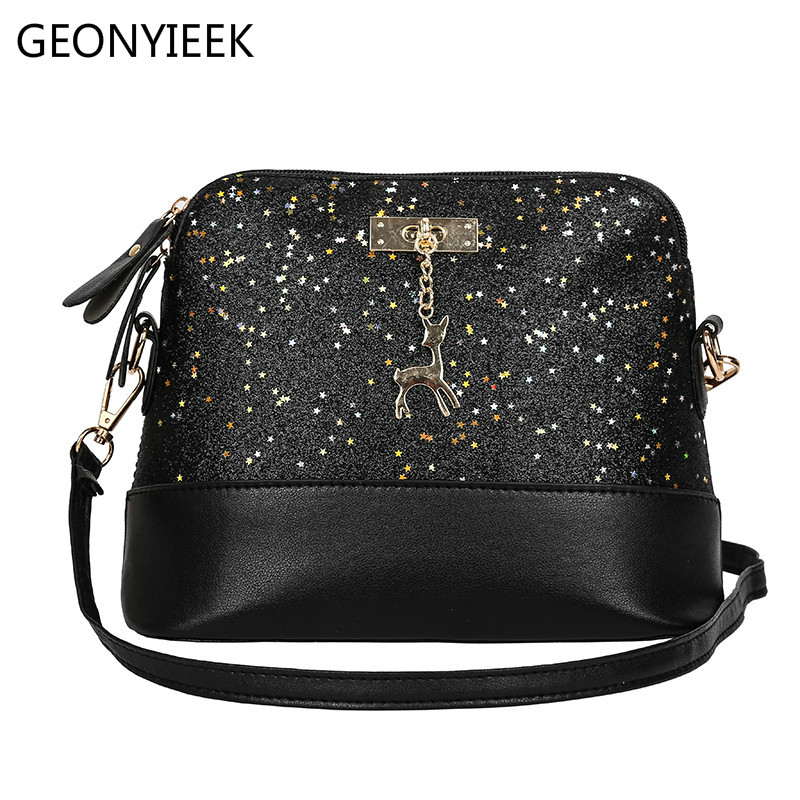 Vintage Sequins Splice Leather Women Bags Fashion Small Shell Bag With Deer Toy Women Sh ...
