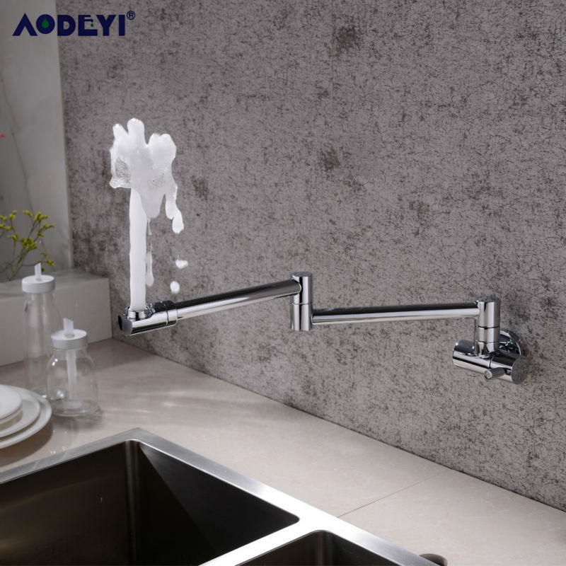 Image 2 - Brass Wall Mounted Kitchen Faucet Pot Filler Faucet Swivel Folding Retractable Rotary Stretch  Basin Faucet Sink Tap-in Kitchen Faucets from Home Improvement