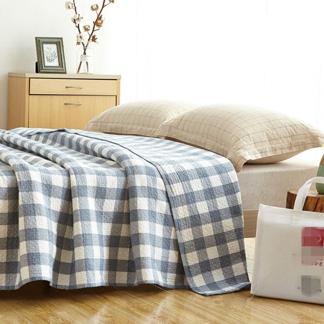 Queen Size Soft Cotton Bedside Blanket Summer 200 230cm Plaid Comforter