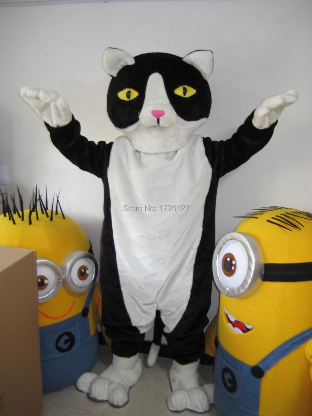 858f40ca1c9f99 Czarny biały kot maskotka maskotka kostium niestandardowych fantazyjne  kostium anime cosplay mascotte fancy dress kostium karnawał