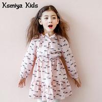Kseniya Kids Children Dress 2018 Girls Spring Fall Fashion Dress Lovely Princess Printed Long Sleeve Cute