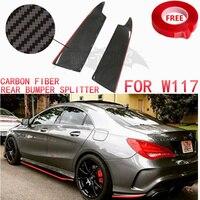 Red Line Carbon Fiber Rear Splitter For Mercedes W117 CLA Class CLA200 CLA220 CLA250 CLA45 AMG Rear Bumper Protector 13 17