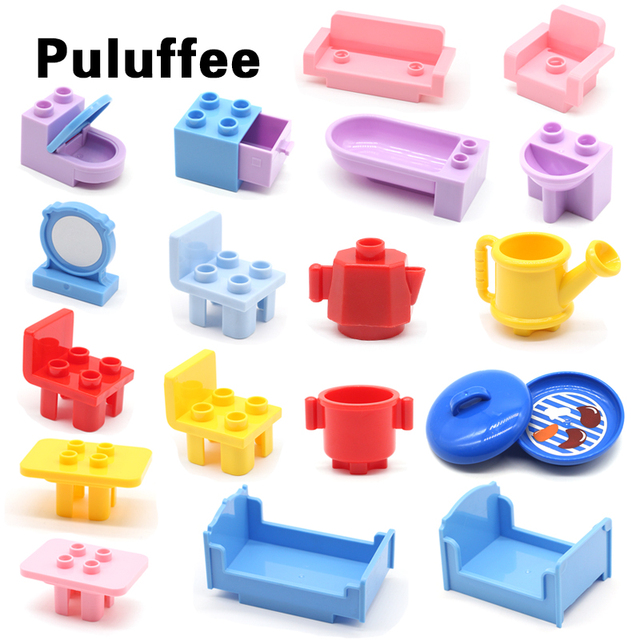 Sofa Mirror Chair Bed Pan Dining Table Set Bricks Big Particles Building Blocks Compatible with Duplo Accessory Kids DIY Toys