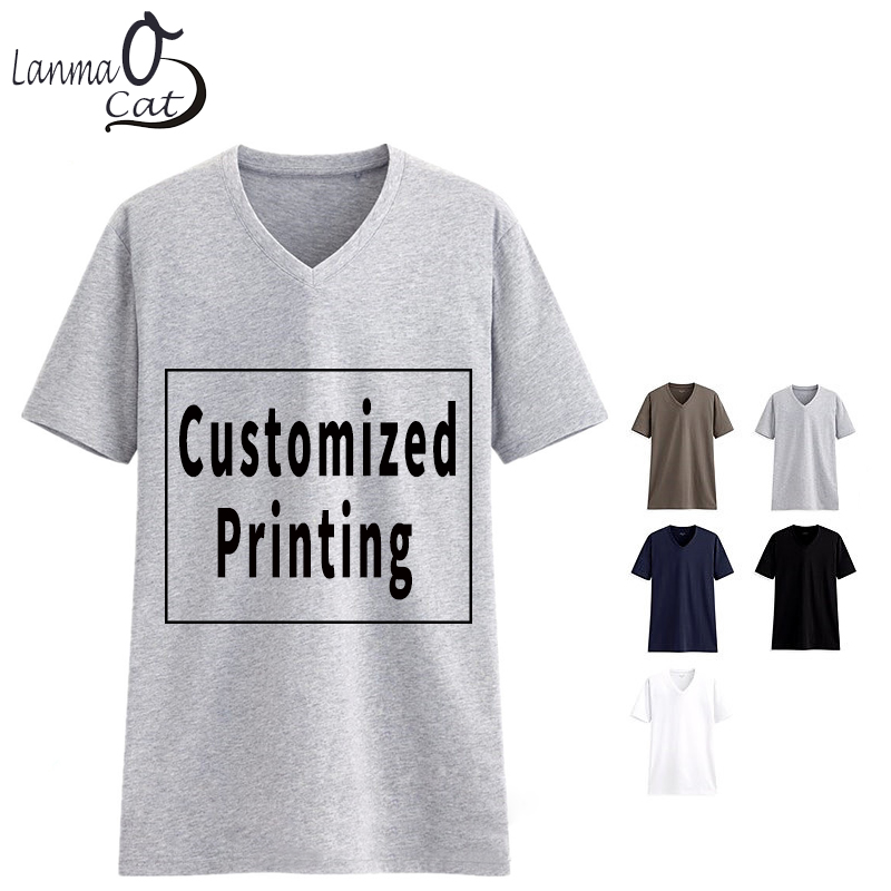 Lanmaocat Cotton V Neck   T     Shirts   for Men Custom Text V Neck   T     Shirts   Women Customized Photo Tshirts Blank   T     Shirt   Free Shipping