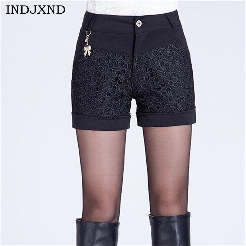 Fashion Femininas Patchwork Lace Shorts Feminino Carved ...