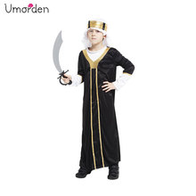 Umorden Child Arab Arabian Sheik Costume Black Long Robe Sultan Costumes for Kids Boys Fancy Carnival Halloween Party Cosplay