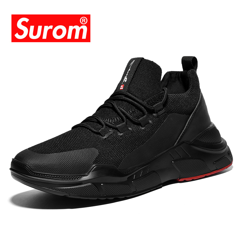 SUROM Flyknit Sneakers Men Breathable Lightweight Mesh Mens Shoes Casual Black Outdoor Lace Up Zapatillas Tenis