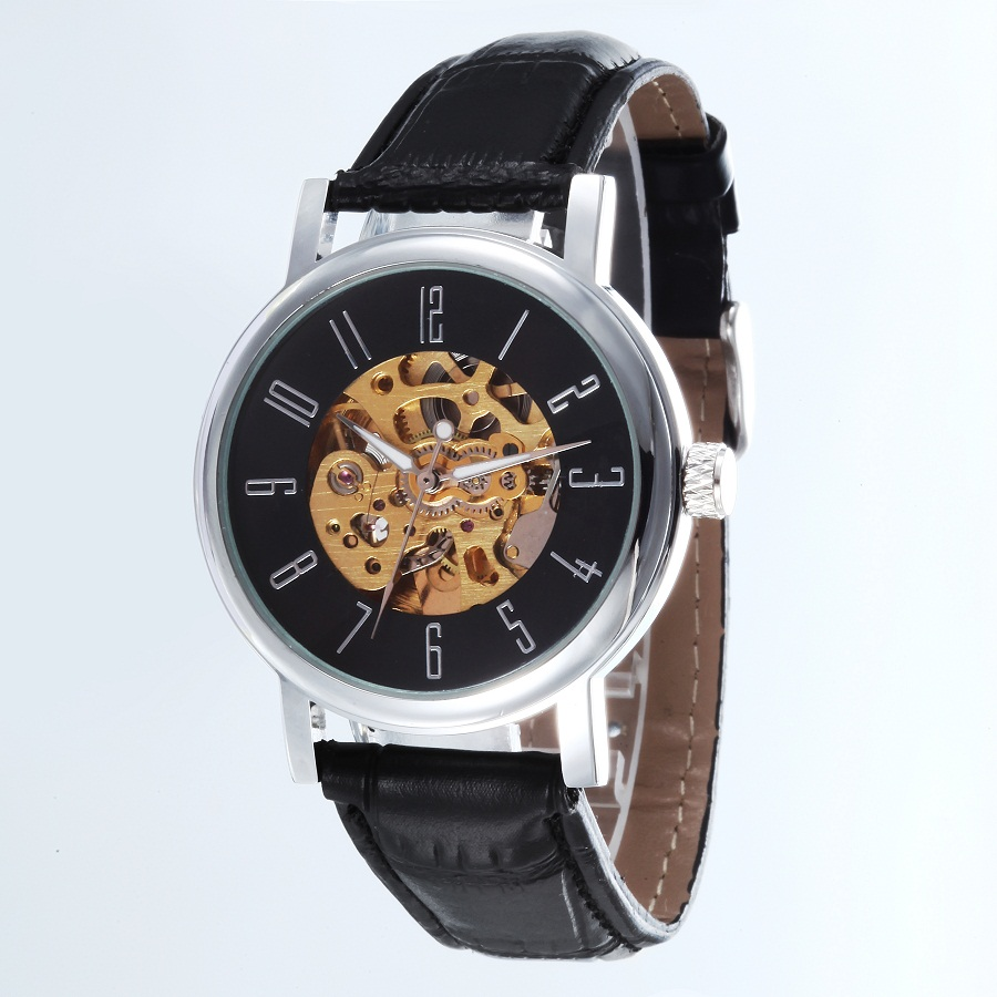 GOER brand Men s digital watches mechanical Automatic Male leather waterproof Movement Skeleton Luminous