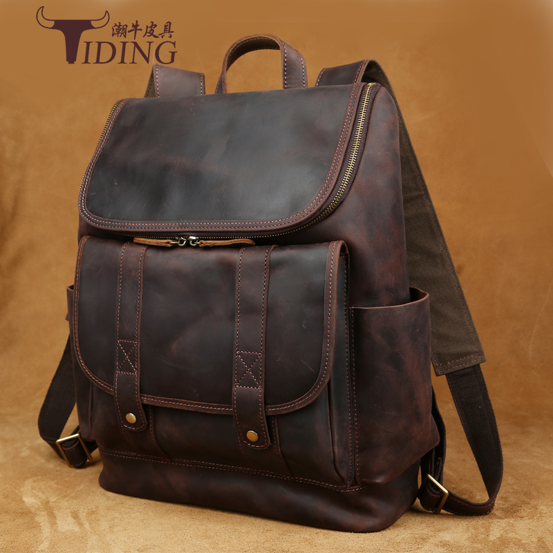 Crazy Horse Leather Backpack Men Backpacks Casual Daypacks Leather Laptop Bag 14 inch Men's Travel Shoulder Bags Male Bag faux leather fashion women backpacks vintage casual daypacks shoulder bags travel bag free shipping