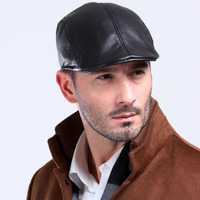 Man Fashion Four Season Real Sheep Leather Golf Style Baseball Hat Cap
