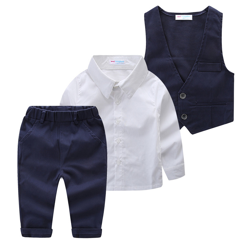 Mudkingdom 3 PCs Set Boys Wedding Suits Tuxedo Enfant Costume Turn-down Collar Formal White Shirt Navy Pants And Vest Sets baby boy clothes suits vest plaid shirt pants 3pcs set party formal gentleman wedding long sleeve kid clothing set free shipping