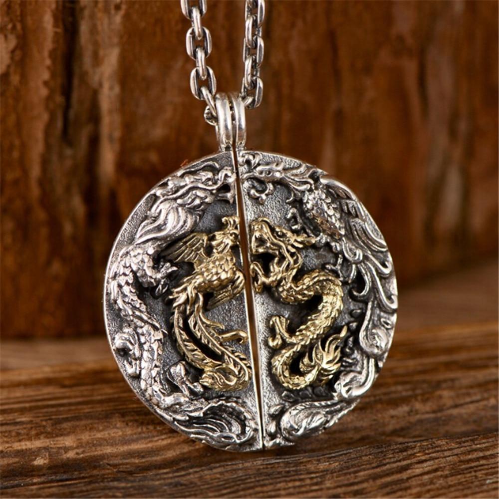HFANCYW Retro 925 Silver Jewelry Dragon Phoenix Chengxiang Couple Round Pendant Necklace Men and Women Creative Wedding Gift
