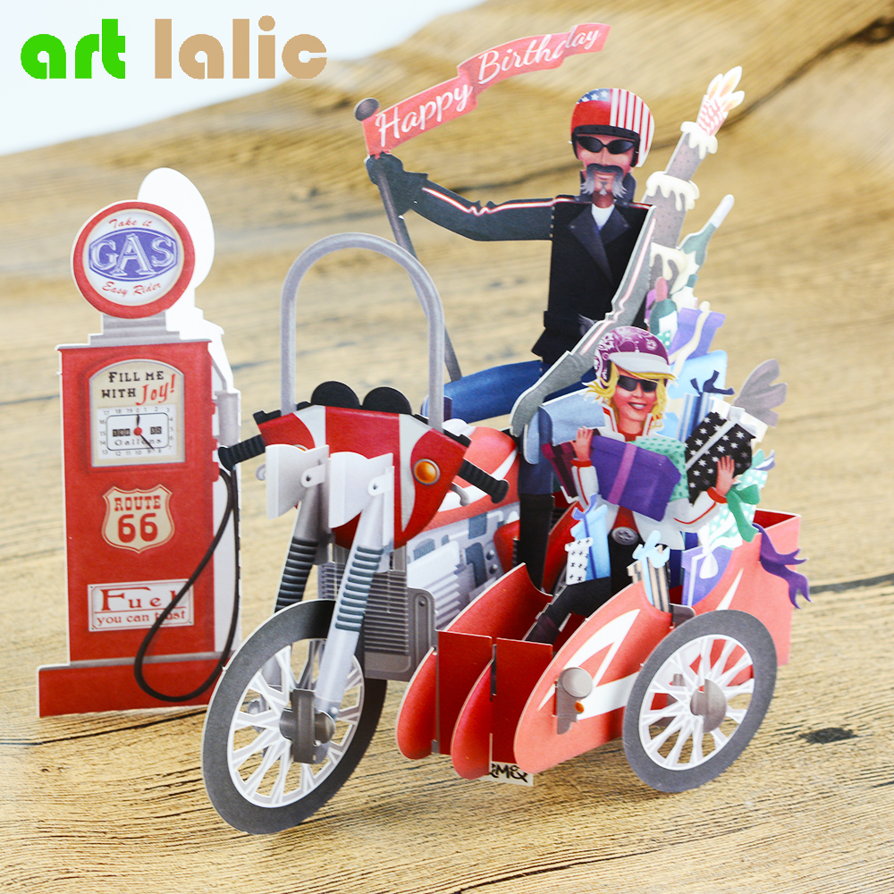 Birthday Motorcycle Bike 3D paper laser cut pop up handmade post cards custom gift greeting cards souvenirs party supplies CD084