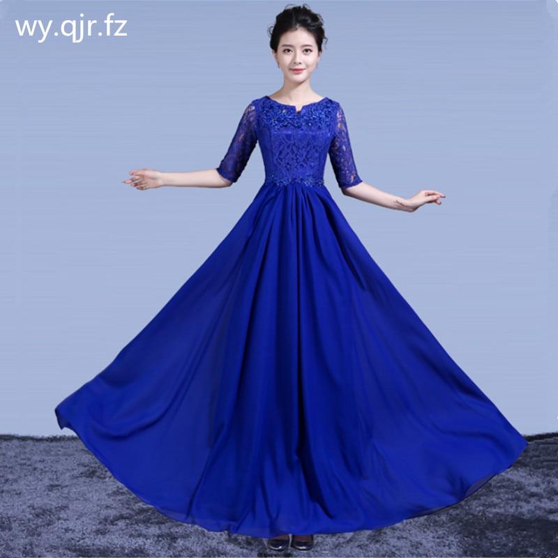 DLH68L#Bride Chiffon Lace Rrd Blue Long Evening Dresses Chorus Costume Bohemia Wedding Party Dress Prom Gown wholesale women
