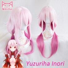 Peluca de pelo sintético rosa para Cosplay, Yuzuriha Inori, corona de Gulity, Yuzuriha Inori