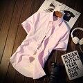 5 Cores Slim Fit Sólida M-5XL Manga Curta 2017 Novo Estilo Mens Camisas de Vestido Roupas Masculinas Camisa Social Ocasional Dos Homens Da Marca C10