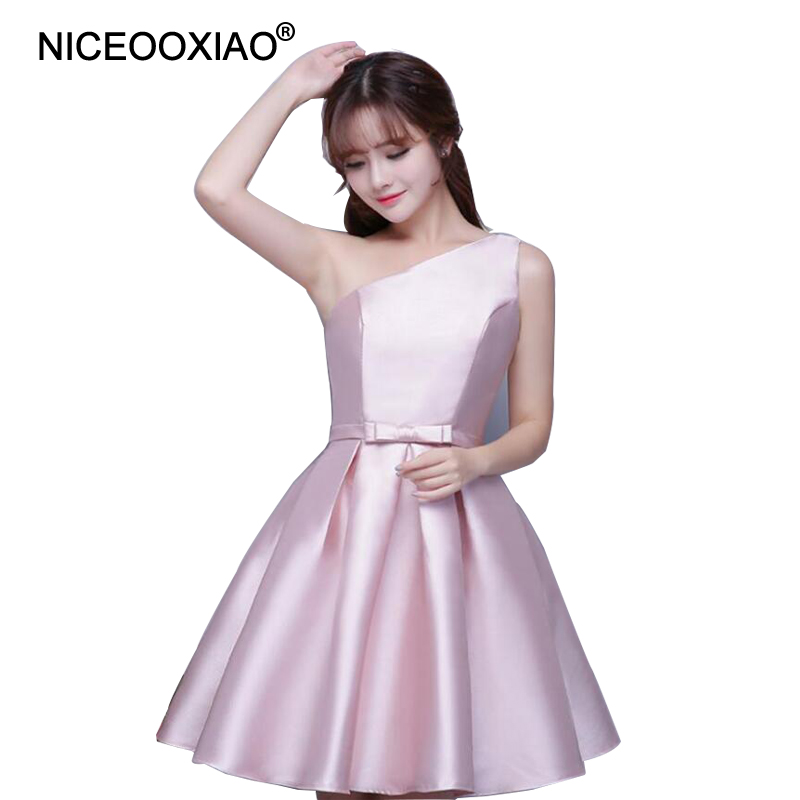 Niceooxiao Robe De Soiree 2019 Nude Pink Short Evening Dress Women One Shoulder Formal -6293