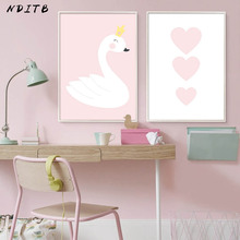 NDITB Baby Girl Nurser Wall Art Canvas Painting Pink Cartoon Swan Heart Posters Prints Nordic Style Kids Decoration Pictures