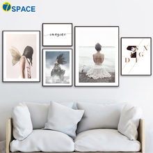 Sea Girl Wing Quotes Wall Art Canvas Painting Nordic Posters And Prints Landscape Pictures For Living Room Pop Decor