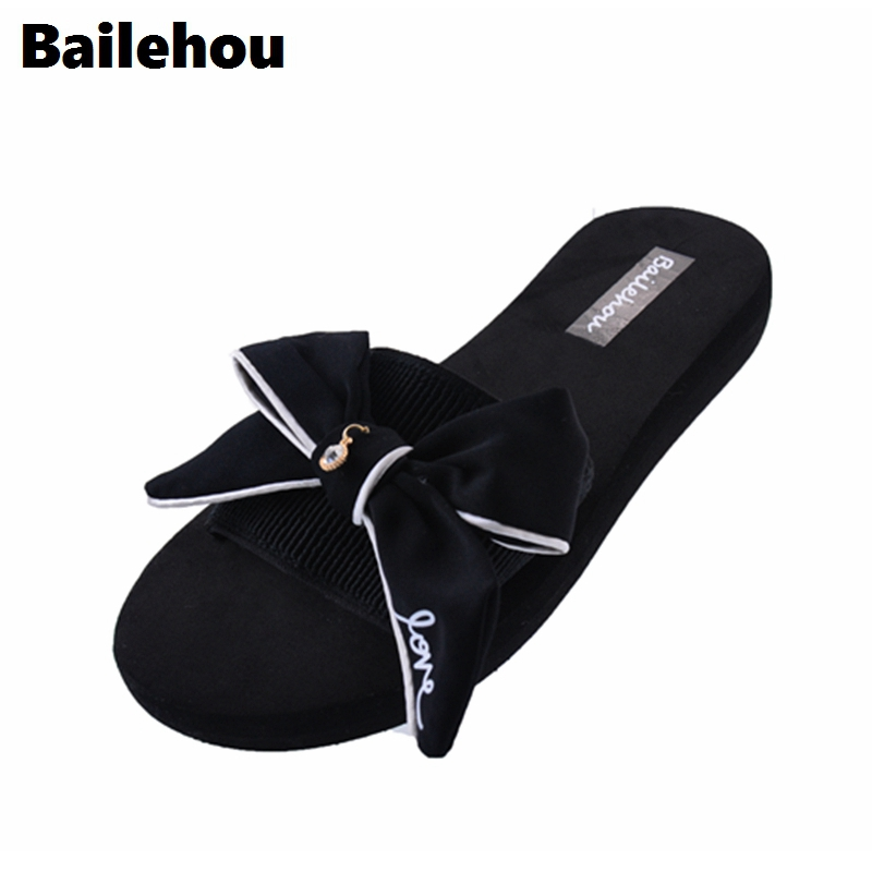Bailehou Women Slippers Flat Shoes Slip On Slides Summer Beach Slippers Butterfly Knot Flip Flops Sandals Platform Casual Shoes zapatos mujer black red summer sweet bowtie flat sandals slip toe beach sandals butterfly knot flat sandals shoes plus size 44