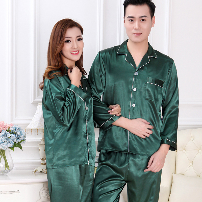 Top Fashion Couple Bathrobes Solid Full Sleeve Robes For Men Women Imitation Silk Sleepwear Soft Pijama Free Shipping