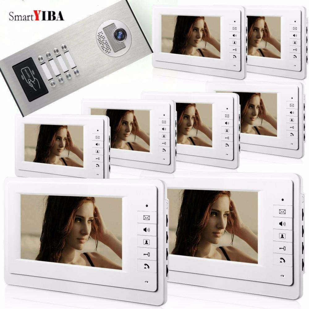 SmartYIBA 7inch Color Video Intercom Kits For 8 Units House/Flat/Apartment RFID Video Door Phone Doorbell Kit