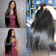 """ישר ברזילאי שיער טבעי Weave חבילות עם סגירת רמי שיער טבעי צרור הארכת 1/3/4 pcs Dolago שיער מוצרים 10 """" 26"""""""