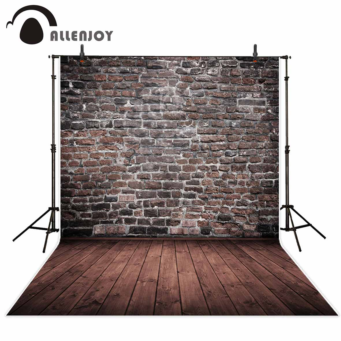 Allenjoy photography backdrops vintage brick wall brown wooden floor Background for photo studio backgrounds for kids dark brown brick wall with white clock photography backdrops wedding background 200x300cm photo studio props fotografia