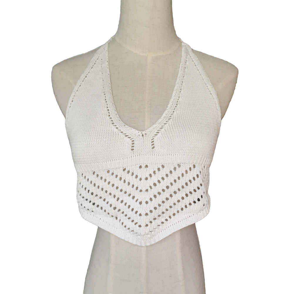 b035734148d7c 2018 Summer Women Halter Neck Bralette Tops Sexy Knitted Crop Top Cropped  Feminino Vintage Lace Camisole Backless Crochet Top-in Tank Tops from  Women s ...