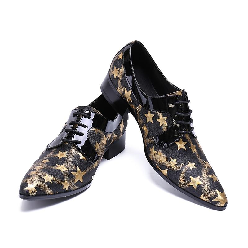 Estrella Hombres De Zapatos Oxford rojo Plus 37 gris Formal Tamaño Nuevos Azul Clásico Vestido Moda Plano Hombre Zorssar Cuero Los 2019 46 amarillo E7fYCtxw