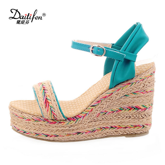86c4b27f959 Daitifen women Wedge Sandals summer 2018 ethnic Mixed color high heel Ankle  strap shoes comfort girls Beach Platform sandalia