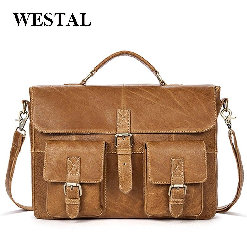 d8e4856bc2fc WESTAL Мужчины портфель сумка мужская мужская сумка из натуральной кожи  сумки-мессенджер коровьей сумки сумка через плечо мужская сумка кожан.
