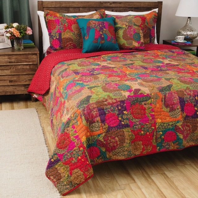 Nice CHAUSUB Quality Washed Cotton Quilt Set 3PCS Red Coverlet Bohemia Quilts  Quilted Bedspread Bed Cover Sheets