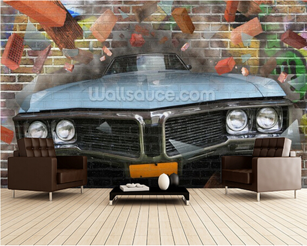 Custom 3D retro Textile Wallcoverings,Graffiti - Car Smash murals for the living room bedroom kitchen backdrop wall wallpaper