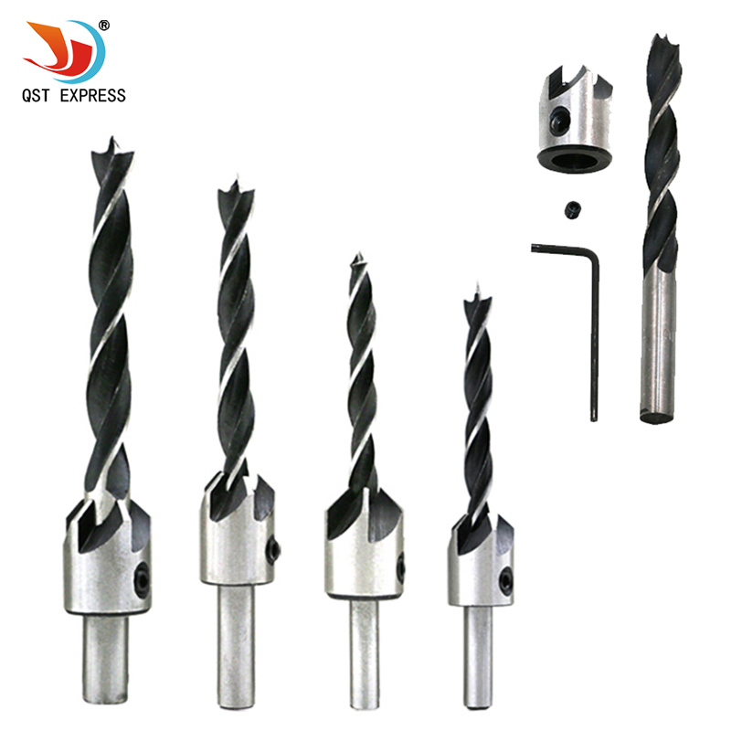 цена на 4pack HSS Counter Sink Bits Wood Countersink Power Tool Bit Set 5 flutes Woodworking Chamfer Industrial Countersinks Bit Reamer