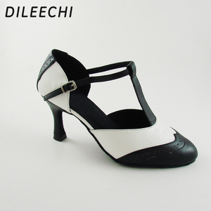 Image 3 - DILEECHI Brand White Real leather T Strap Latin modern dance shoes Womens High heels 7.5cm Autumn and Winter Black party shoes