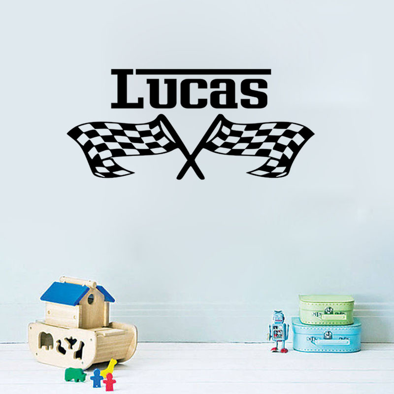 Sport Race Flags Pattern Customized Name Wall Sticker For Kid Living Room Bedroom Personalised Removeable Accessories Home Decor In Stickers From